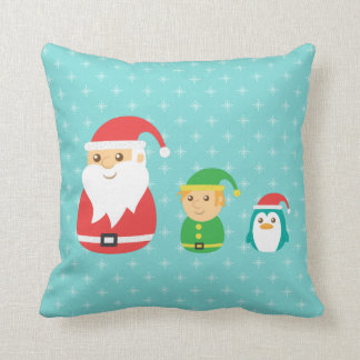 Cute Santa, Elf and Penguin Lined up for Christmas Pillows