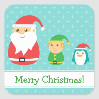 Cute Santa, Elf and Penguin, Merry Christmas Square Sticker