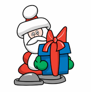 Cute Santa Giving Present Standing Photo Sculpture