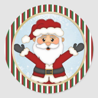 Cute Santa, green red stripes Christmas Classic Round Sticker