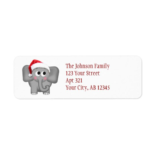 Cute Santa Hat Elephant - Christmas Address Labels