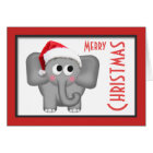 "Cute Santa Hat Elephant ""Merry Christmas"" Card"