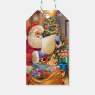 Cute Santa holiday design with kids Gift Tags