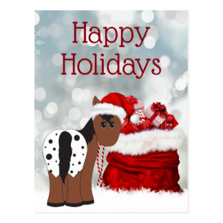 Cute Santa Horse n Gifts Happy Holidays Christmas Postcard