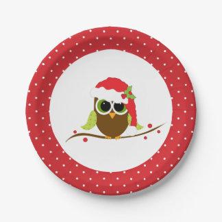 Cute Santa Owl Christmas Party Paper Plates