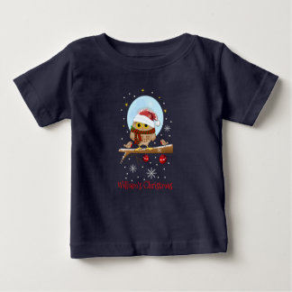 Cute Santa Owl with custom text and name Baby T-Shirt