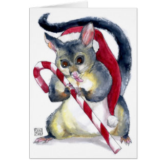 Cute Santa Possum with Candy Cane Christmas Card