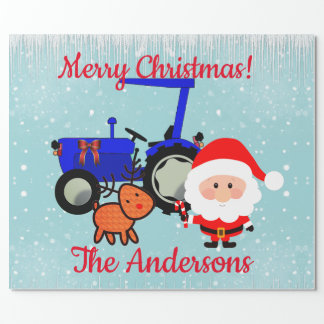 Cute Santa, Reindeer and Farm Tractor Wrapping Paper