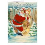 Cute Santa & Reindeer Christmas Card