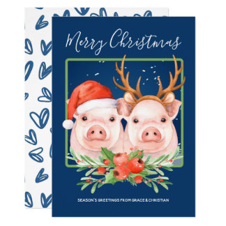 Cute Santa Reindeer Christmas Pig Couple Card