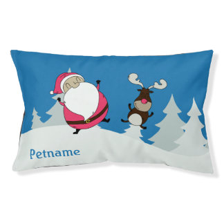 Cute Santa & Reindeer custom name dog beds
