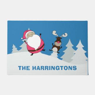 Cute Santa & Reindeer custom name door mats