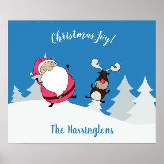 Cute Santa & Reindeer custom text poster