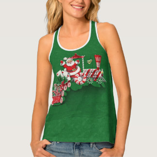 Cute Santa Riding Peppermint Candy Train Letters Singlet
