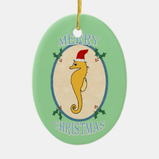 Cute Santa Seahorse Christmas Blue Green Ceramic Oval Decoration