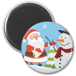 Cute Santa Snowman Christmas Xmas Gift 6 Cm Round Magnet