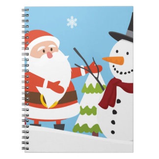 Cute Santa Snowman Christmas Xmas Gift Notebooks