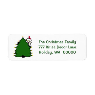 Cute Santa Tree Merry Christmas Card Sticker Return Address Label
