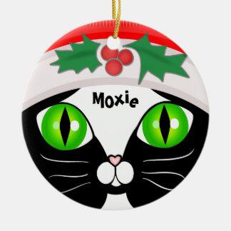 Cute Santa Tuxedo Cat Christmas Ornament