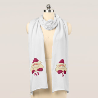 Cute Santa with Monogram in Pink and Winter White Scarf