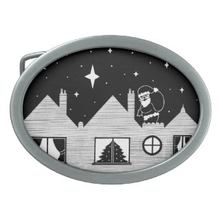 Cute santa with sack on roof black and white art belt buckle