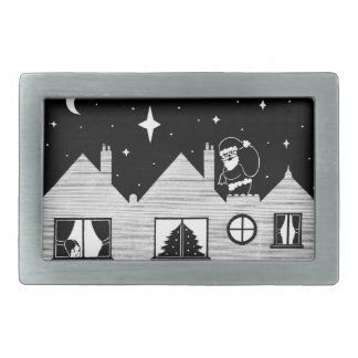 Cute santa with sack on roof black and white art rectangular belt buckle
