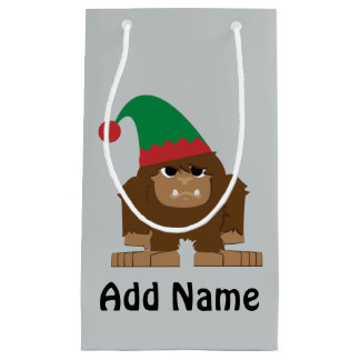 Cute Sasquatch Christmas Elf Small Gift Bag