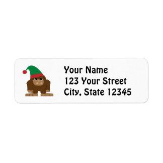 Cute Sasquatch Christmas Elf Return Address Label