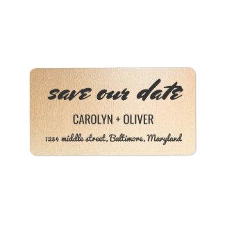 Cute Save Our Date Script Rose Gold Address Label