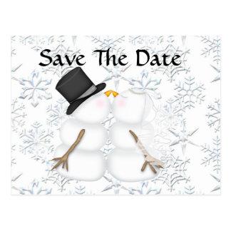 CUTE Save the Date BRIDE & GROOM Snowman Postcard