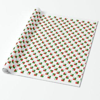 Cute Scandinavian Christmas Hearts Wrapping Paper
