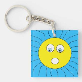 Cute Scared Sun Face Design Blue Key Ring
