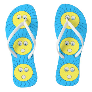Cute Scared Sun Face Drawing Blue Thongs