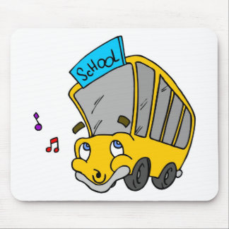 Cute School Bus Drawing Happy Face Mouse Pad