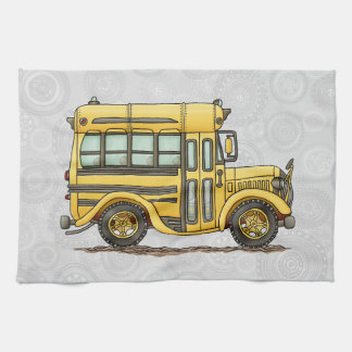 Cute School Bus Hand Towel