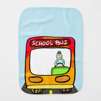 cute school bus ilustration baby burp cloth
