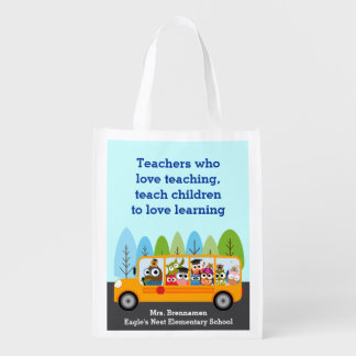 Cute School Bus Owl Driver Reusable Grocery Bag