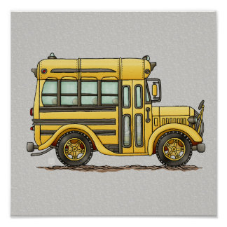 Cute School Bus Poster