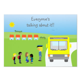 Cute School Kids & Bus Birthday Party Card