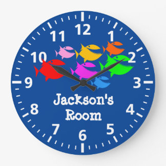 Cute School of Fish Personalize Clocks