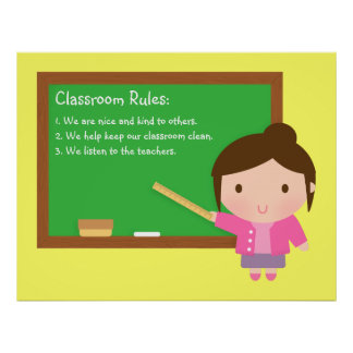 Cute School Teacher Classroom Rules Poster
