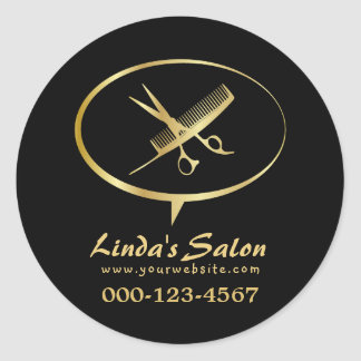 Cute Scissors & Comb Beauty Hair Artist Salon Classic Round Sticker