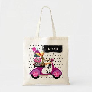 Cute Scooter Girl Purses Polka Dots
