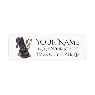 Cute Scottie Playing Bagpipes Personalize Return Address Label