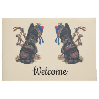 Cute Scotties Playing Bagpipes Personalise Doormat