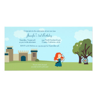 Cute scottish princess girls birthday party invite photo card template