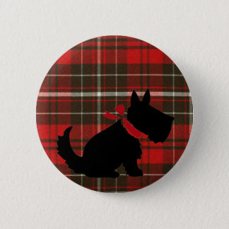 Cute Scotty Dog & Red Tartan 6 Cm Round Badge