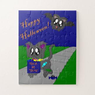 Cute Scruffy Animal Halloween Scene Kids Puzzle