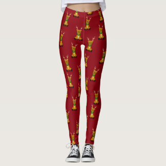 Cute Scruffy Christmas Reindeer Leggings