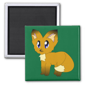 Cute Scruffy Little Fox Square Magnet